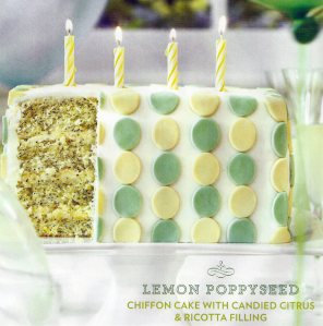 Lemon Poppyseed Chiffon Cake With Candied Citrus & Ricotta Filling