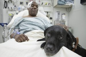 Cecil and Orlando, his seeing eye dog.